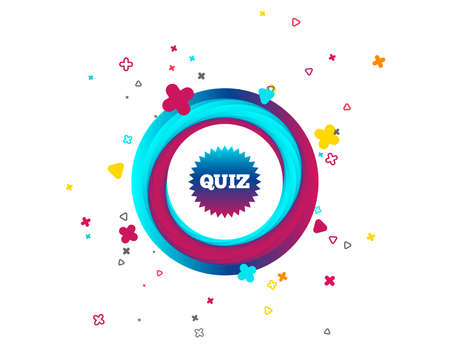 Quiz star sign icon. Questions and answers game symbol. Colorful button with icon. Geometric elements. Vector