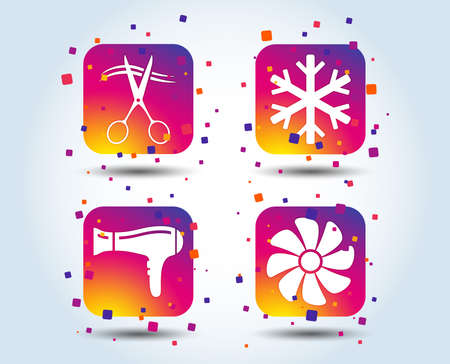 Hotel services icons. Air conditioning, Hairdryer and Ventilation in room signs. Climate control. Hairdresser or barbershop symbol. Colour gradient square buttons. Flat design concept. Vector Çizim