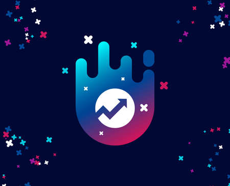 Chart simple icon. Report graph or Sales growth sign in circle. Analysis and Statistics data symbol. Cool banner with icon. Abstract shape with gradient. Vector