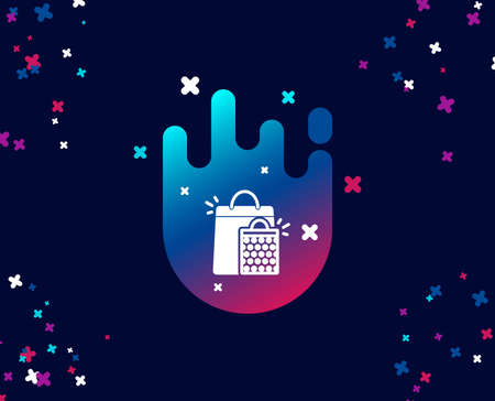 Shopping bags simple icon. Sale Marketing symbol. Special offer sign. Cool banner with icon. Abstract shape with gradient. Vector