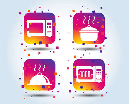 Microwave grill oven icons. Cooking pan signs. Food platter serving symbol. Colour gradient square buttons. Flat design concept. Vector Banque d'images - 106733327