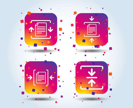 Archive file icons. Compressed zipped document signs. Data compression symbols. Colour gradient square buttons. Flat design concept. Vector  イラスト・ベクター素材