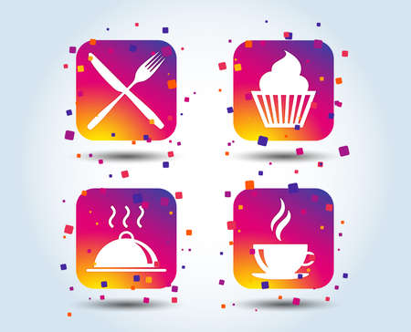Food and drink icons. Muffin cupcake symbol. Fork and knife sign. Hot coffee cup. Food platter serving. Colour gradient square buttons. Flat design concept. Vector