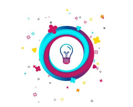 Light bulb icon. Lamp E27 screw socket symbol. Illumination sign. Colorful button with icon. Geometric elements. Vector Foto de archivo - 106733333