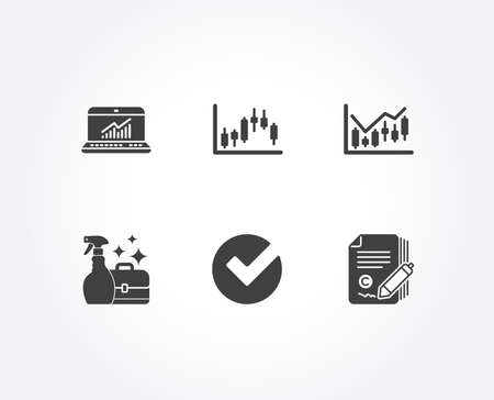 Set of Candlestick graph, Verify and Cleanser spray icons. Financial diagram, Online statistics and Copywriting signs. Finance chart, Selected choice, Washing liquid. Vector