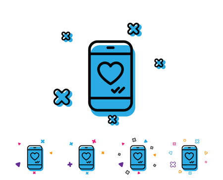Phone with heart line icon. Social media like sign. Smartphone Love message symbol. Line icon with geometric elements. Bright colourful design. Vector Illustration