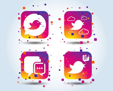 Birds icons. Social media speech bubble. Chat bubble with three dots symbol. Colour gradient square buttons. Flat design concept. Vector