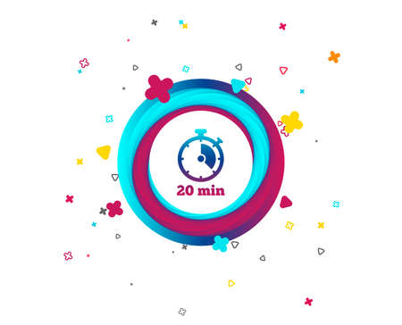 Timer sign icon. 20 minutes stopwatch symbol. Colorful button with icon. Geometric elements. Vector Illustration
