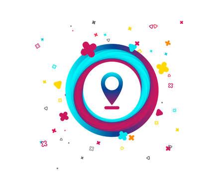 Internet mark icon. Navigation pointer symbol. Position marker sign. Colorful button with icon. Geometric elements. Vector Archivio Fotografico - 106733345
