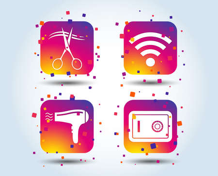 Hotel services icons. Wifi, Hairdryer and deposit lock in room signs. Wireless Network. Hairdresser or barbershop symbol. Colour gradient square buttons. Flat design concept. Vector Illusztráció