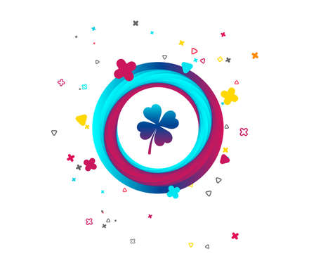 Clover with four leaves sign icon. Saint Patrick symbol. Colorful button with icon. Geometric elements. Vector