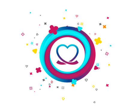 Heart ribbon sign icon. Love symbol. Colorful button with icon. Geometric elements. Vector