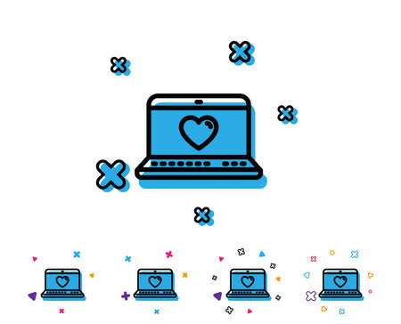 Love dating line icon. Heart in Notebook sign. Valentines day symbol. Line icon with geometric elements. Bright colourful design. Vector