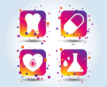 Maternity icons. Pill, tooth, chemistry and heart signs. Blood donation symbol. Lab bulb with drops. Dental care. Colour gradient square buttons. Flat design concept. Vector Standard-Bild - 106733360