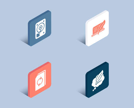 Set of Update document, Hdd and Copyright laptop icons. Сopyright chat sign. Refresh file, Hard disk, Writer device. Speech bubble.  3d isometric buttons. Flat design concept. Vector