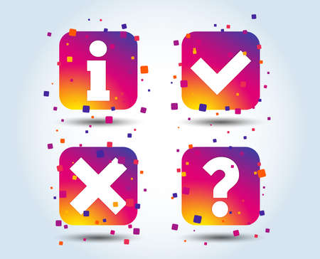 Information icons. Delete and question FAQ mark signs. Approved check mark symbol. Colour gradient square buttons. Flat design concept. Vector  イラスト・ベクター素材