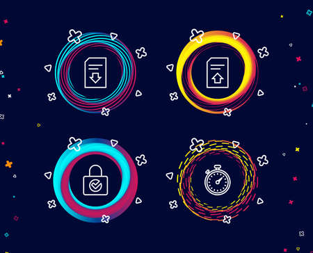 Set of Password encryption, Upload file and Download file icons. Timer sign. Protection locker, Load document, Stopwatch gadget. Circle banners with line icons. Gradient colors shapes. Vector