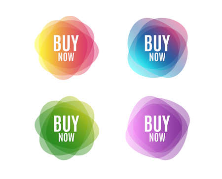 Buy Now. Special offer price sign. Advertising Discounts symbol. Colorful round banners. Overlay colors shapes. Abstract design concept. Vector Foto de archivo - 111102909