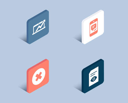 Set of Close button, Sales diagram and Message icons. View document sign. Delete or decline, Sale growth chart, Phone messenger. Open file.  3d isometric buttons. Flat design concept. Vector