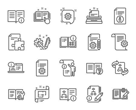 Icônes de ligne de documentation technique. Ensemble d'icônes linéaires d'instruction, de plan et de manuel. Documents d'aide, plan de construction et symboles d'algorithme. Plan technique, panneaux d'ingénierie et d'outils de travail. Vecteur