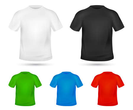 Blank T-shirt template. Tee graphic concept. Change colors Mock-up t shirt printing design. Replace with your Design. Textile Tee-shirt print. White, black and blue clothes. Vector