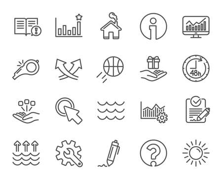 Whistle, Waves and Sun line icons. Customisation, Global warming and Question mark signs. Signature Rfp, Information and Efficacy symbols. Gift box, Consolidation and Operational excellence. Vector Imagens - 111102915