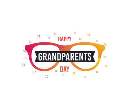 Happy Grandparents Day vector banner. Greeting card design. Grandpa and Grandma day. Old glasses icon.