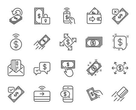 Payment line icons. Set of Accept transfer, Pay with Phone and Credit card by mail linear icons. Online payment, Dollar exchange and Fast money send symbols. Private pay, Cash and Wallet. Vector