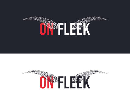 On fleek slogan for T-shirt printing design. Tee graphic design. Eyebrows concept. Tee-shirt print slogan with explosion of particles. Textile graphic. Brows sign. Various kinds. Vector Vectores