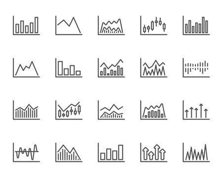 Financial charts line icons. Set of Candle stick graph, Report and Infochart signs. Growth, Trade and Investment. Stock exchange chart, Candlestick and Diagrams. Quality design element. Vector Illustration