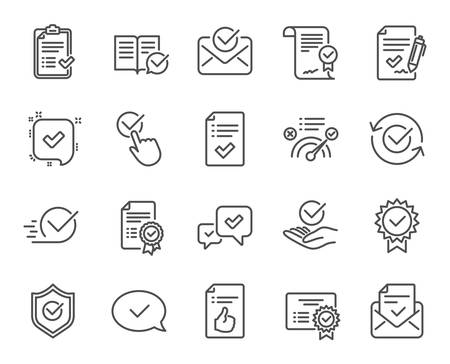 Approve line icons. Set of Check List, Certificate and Award medal linear icons. Certified document, Accepted approve and Confirm mail symbols. Guarantee, Check mark and Correct agreement signs Illustration