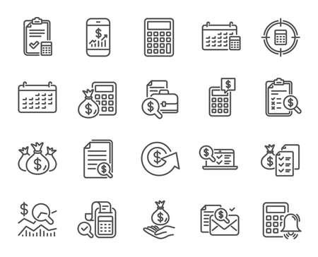Ikony linii rachunkowości. Zestaw ikon liniowych obliczeń, sprawdź inwestycje i raport. Symbole dokumentów kalendarza, konta bankowego i finansów. Bill, Oblicz dochody i znaki kontroli bogactwa. Wektor Ilustracje wektorowe
