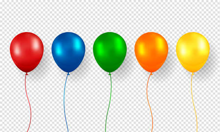 Balloon vector. Realistic Flying Birthday helium balloon. Isolated on transparent background. Party and celebrations decorations. Vettoriali