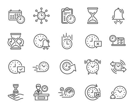 Time line icons. Set of Calendar, Time management and Delivery service linear icons. Checklist, Stopwatch timer and Hand holds hourglass symbols. Test, 24 hours and Presentation. Vector Illustration