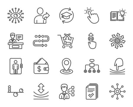 Artificial intelligence, Balance and Refer a friend line icons. Continuing education, Methodology and Exhibitors signs. Swipe up, Elastic and Click here symbols. Wallet with Dollars. Vector Illustration