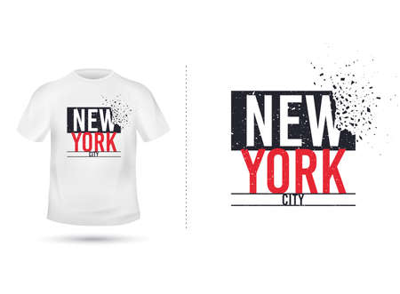 New york city slogan for T shirt printing design. Tee graphic design. New york concept. Tee-shirt print slogan with explosion of particles. Textile grunge graphic. NYC shirt template. Vector