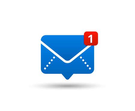 Icône de nouveau message avec notification. Pointeur d'enveloppe avec message entrant. Communication par chat sur les réseaux sociaux. Nouveau courriel. Illustration vectorielle Vecteurs