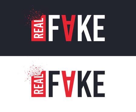 Real and Fake slogan for T-shirt printing design. Tee graphic design. Counterfeit concept. Tee-shirt print slogan with explosion of particles. Textile graphic. Fake replica sign. Various kinds. Vector