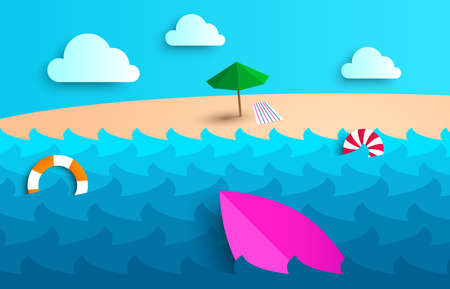 Beach background with umbrella, ball, swim ring and surfboard. Sea with waves. White clouds. Beach umbrella or parasol. Great summer. Vector illustration