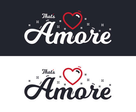 Amore slogan for T-shirt printing design. Tee graphic design. Romantic love concept. Tee-shirt print slogan with linear heart. Textile graphic. Valentines day sign. Various kinds. Vector