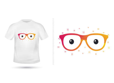 Glasses for T shirt printing design. Tee graphic design. Hipster spectacles concept. Tee-shirt print with eyes. Textile graphic. Colorful hipster eyeglasses sign. Various kinds. Vector