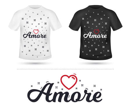 Amore slogan for T-shirt printing design. Tee graphic design. Romantic love concept. Tee-shirt print slogan with linear heart. Textile graphic. Valentines day sign. Various kinds. Vector Foto de archivo - 111102934