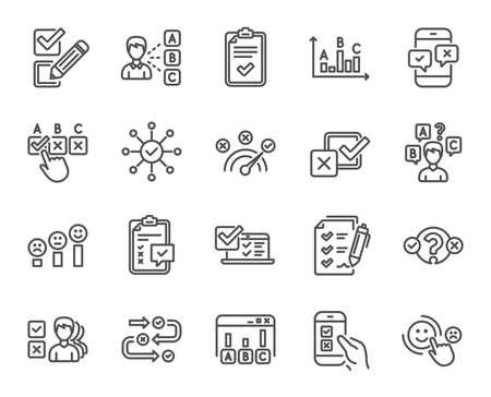 Icone della linea di indagine o relazione. Set di icone lineari di opinione, soddisfazione del cliente e test. Simboli di revisione della lista di controllo, quiz e report aziendali. Valutazione, feedback grafico e gestione. Vettore