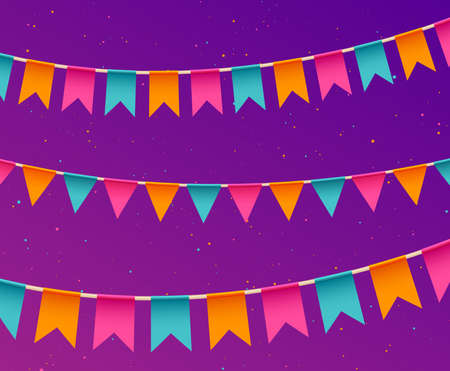 Banner with garland. Festive background with flags. Party invitation template. Traditional festive celebration. Festa Junina holidays banner. Festival colorful decoration. Vector Ilustração