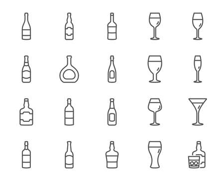Wine bottles line icons. Set of Craft beer, Whiskey and Wine glasses linear icons. Champagne bottle, Alcohol and Scotch with ice symbols. Wineglass, Beer glass and Restaurant goblet signs. Vector