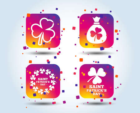 Saint Patrick day icons. Money bag with clover sign. Wreath of trefoil shamrock clovers. Symbol of good luck. Colour gradient square buttons. Flat design concept. Vector