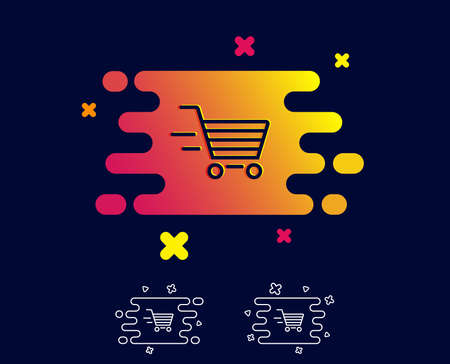 Delivery Service line icon. Shopping cart sign. Express Online buying. Supermarket basket symbol. Gradient banner with line icon. Abstract shape. Vector Illustration
