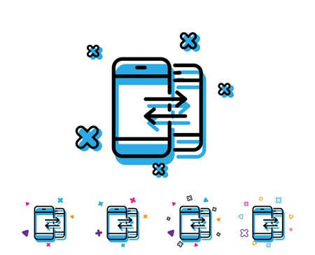 Icono de la línea de comunicación telefónica . entrante y salientes llamada signo. llamada o chat con el icono de la muestra de diseño. elementos de colores brillantes. diseño . vector Foto de archivo - 107136493