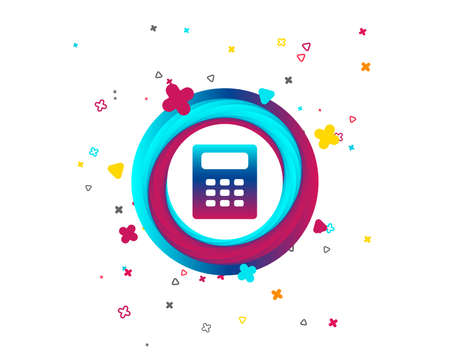 Calculator sign icon. Bookkeeping symbol. Colorful button with icon. Geometric elements. Vector Illustration
