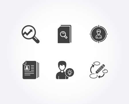 Set of Cv documents, Analytics and Person idea icons. Search files, Headhunting and Keywords signs. Portfolio files, Audit analysis, Lamp energy. Magnifying glass, Person in target, Marketing strategy